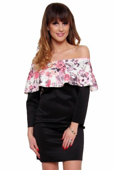 Sukienka hiszpanka w kwiaty CM410A czarna