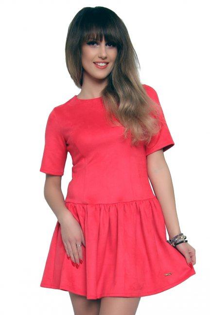 Sukienka zamszowa CMK127 koralowa