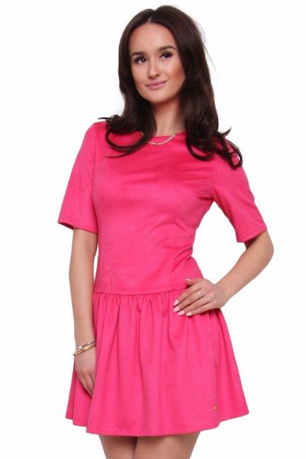 Sukienka zamszowa CMK127 różowa