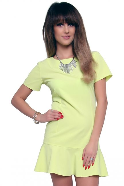 Sukienka mini z falbanką CM316 limonka