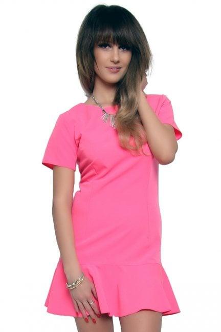 Sukienka mini z falbanką CM316 różowa