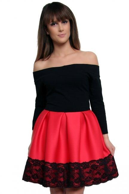 Sukienka z pianki koronka CM368 czerwona