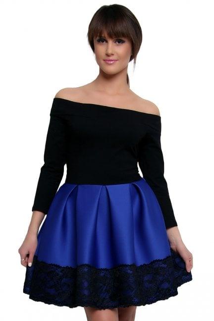 Sukienka z pianki koronka CM368 chabrowa