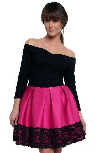 Sukienka z pianki koronka CM368 różowa