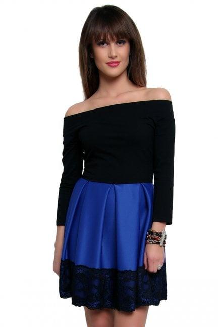 Sukienka z czarną koronką CM368-1 chabrowa