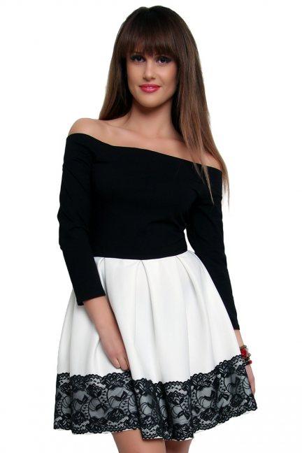 Sukienka z czarną koronką CM368-1 ecru