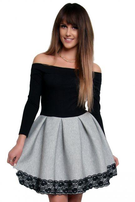 Sukienka z pianki koronka CM368 szara