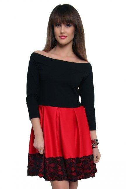 Sukienka z czarną koronką CM368-1 czerwona