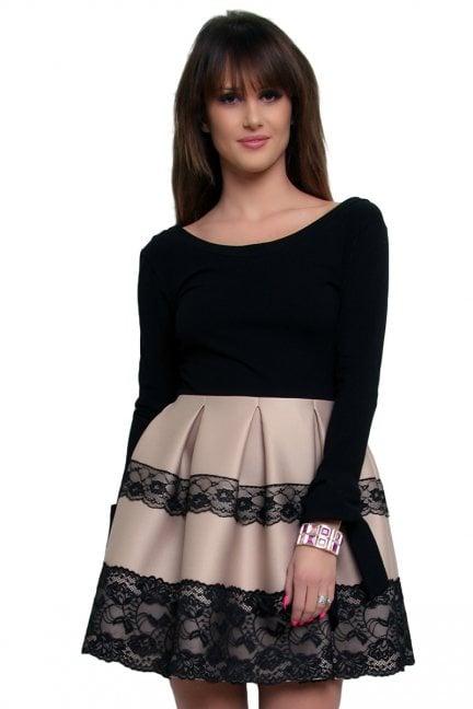 Sukienka z długim rękawem CM369 beżowa