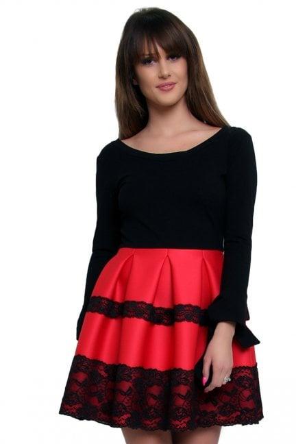 Sukienka z długim rękawem CM369 czerwona