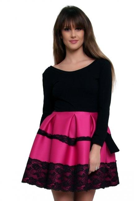 Sukienka z długim rękawem CM369 różowa