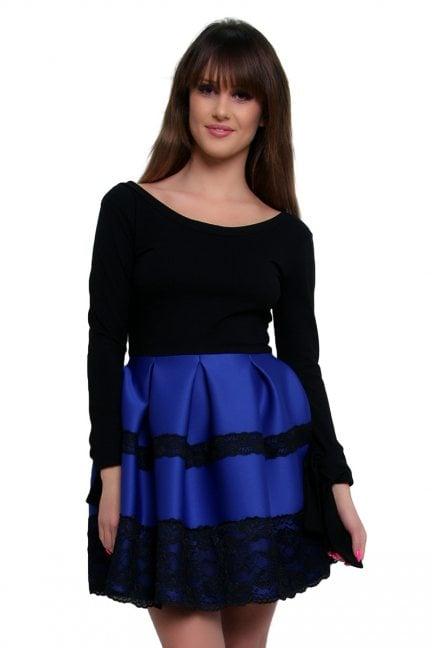 Sukienka z długim rękawem CM369 chabrowa