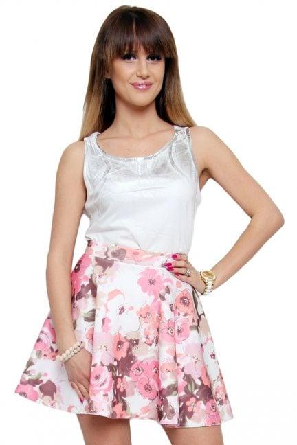 Spódnica rozkloszowana CM133 pudrowy róż