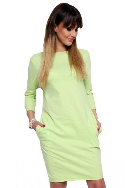 Sukienka bawełniana tuba CM175 limonkowa