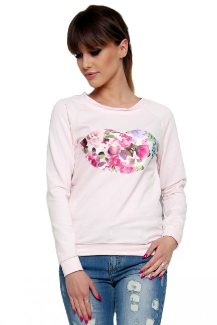 Bluza bawełniana usta CM087 pudrowy róż