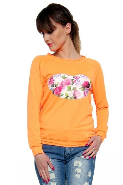 Bluza bawełniana usta CM087 pomarańczowa