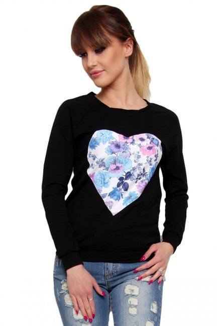 Bluza bawełniana serce CM087 czarna