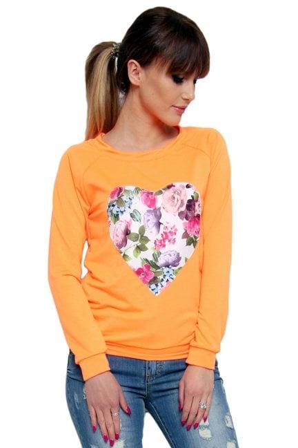 Bluza bawełniana serce CM087 pomarańczowa