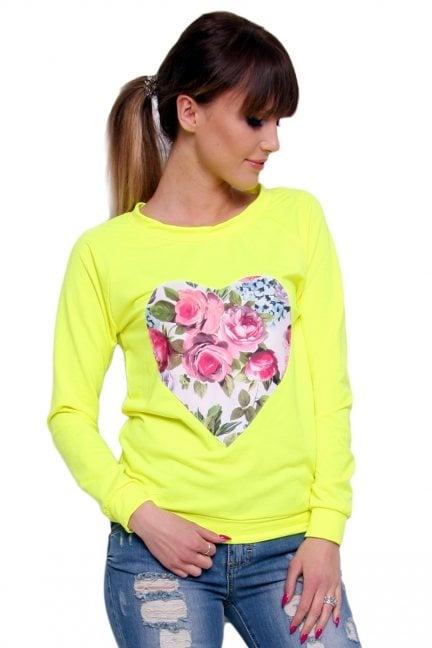 Bluza bawełniana serce CM087 neonowo żółta
