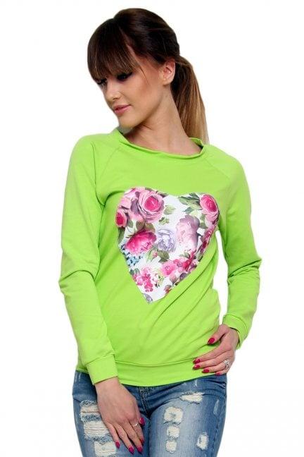 Bluza bawełniana serce CM087 zielona