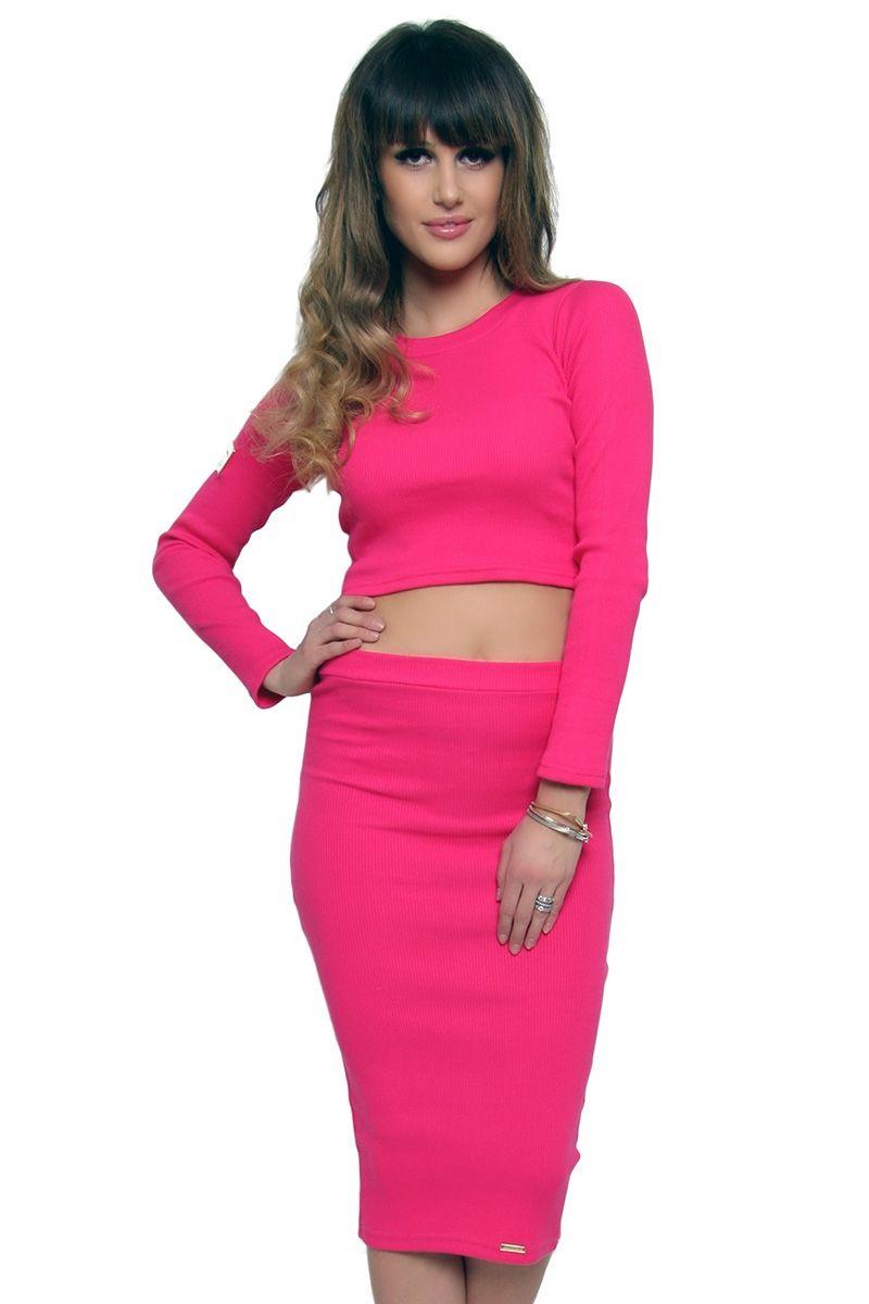 a587ab2630 Komplet spódnica z bluzką różowy CM439 produkt cosmosmoda.pl