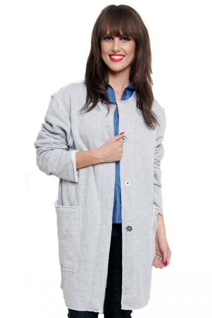 Płaszcz z dużymi kieszeniami CM172 szary