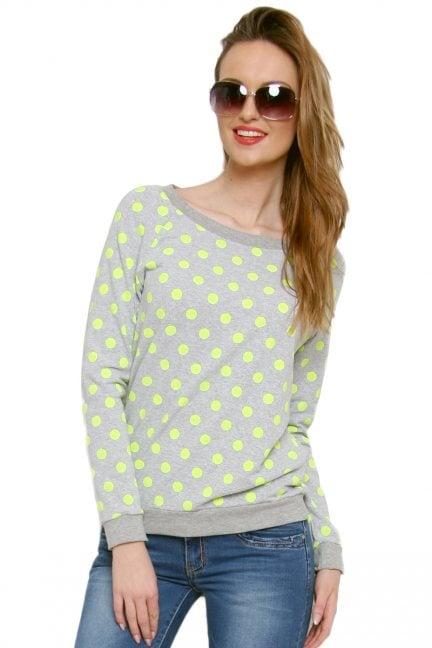 Bluza bawełniana w kropki CM087 zielona
