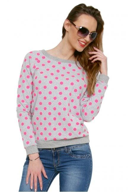 Bluza bawełniana w kropki CM087 różowa