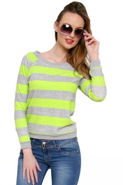 Bluza bawełniana w paski CM087 zielona