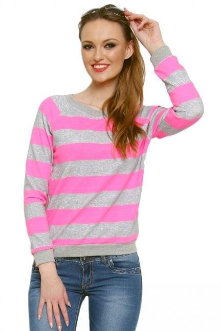 Bluza bawełniana w paski CM087 różowa