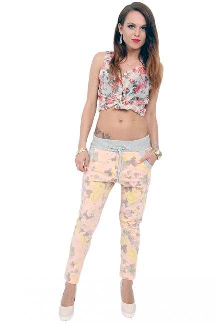 Spodnie dresowe w kwiatki CM135 pudrowy róż