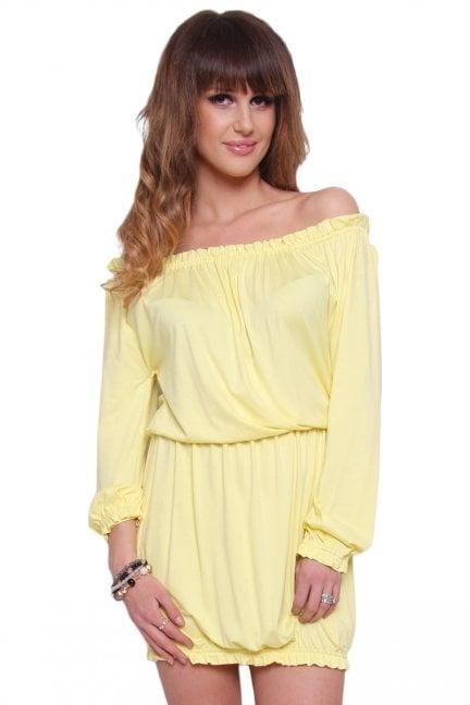 Sukienka Boho bawełna CM441 żółta