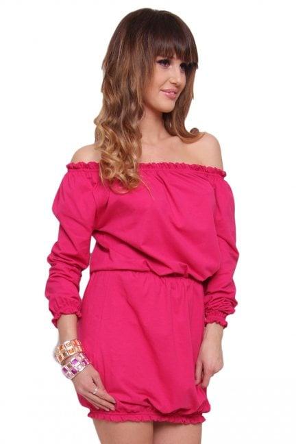 Sukienka Boho bawełna CM441 różowa