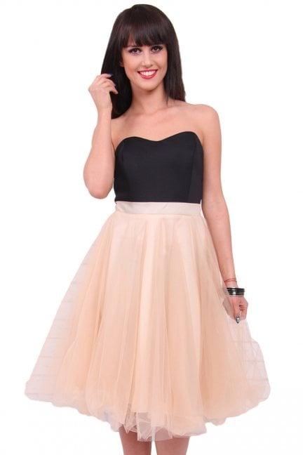 Sukienka tiulowa gorset CM310 beżowa