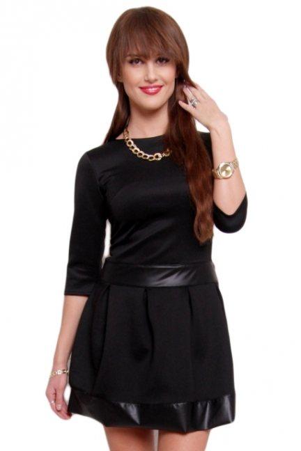 Elegancka sukienka skóra CM219 czarna