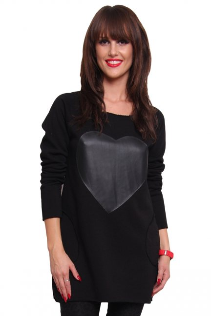 Bluza ciepła skórzane serce CM012 czarna