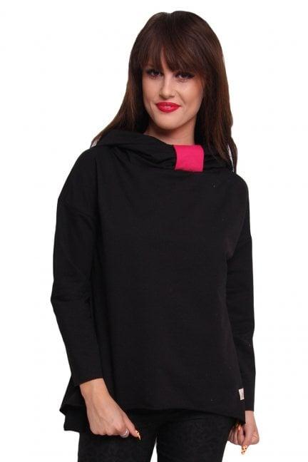 Bluza bawełniana z kapturem CM252B czarna