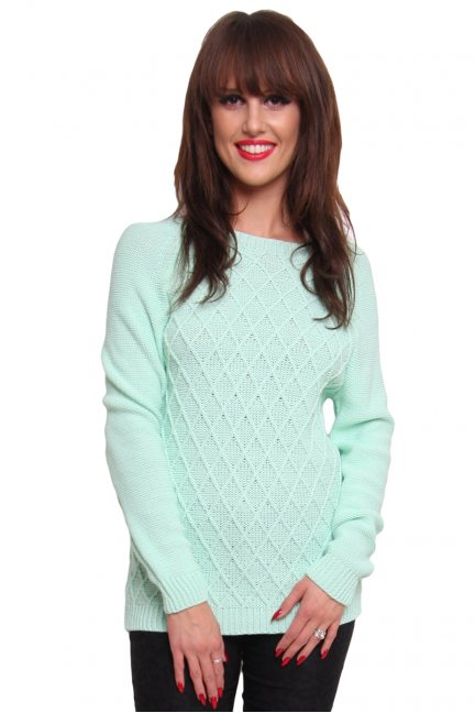 Sweter romby ciepły CMK2014 miętowy