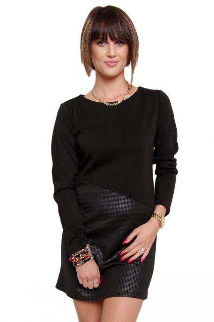 Sukienka elegancka skórzana CM365 czarna