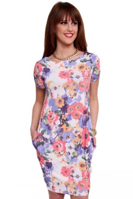 Sukienka tuba midi kwiaty CM094-4 niebieska