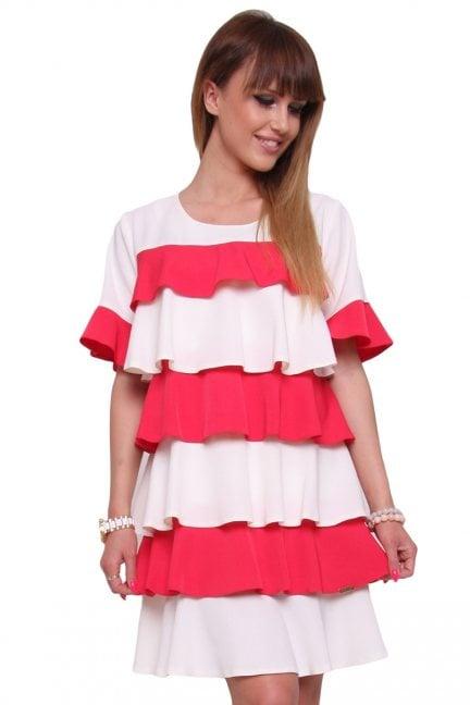 Sukienka falbanka trapez CM445 czerwona