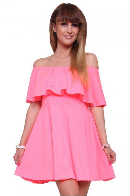 Sukienka hiszpanka klosz CM437 neonowy różowy