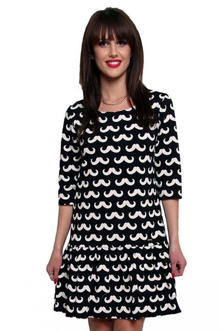 Sukienka falbanka w wąsy CM211 czarna