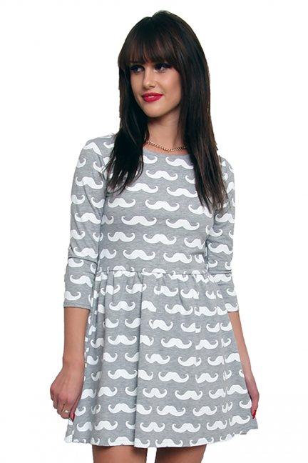 Sukienka dresowa w wąsy CM243 szaro-biała