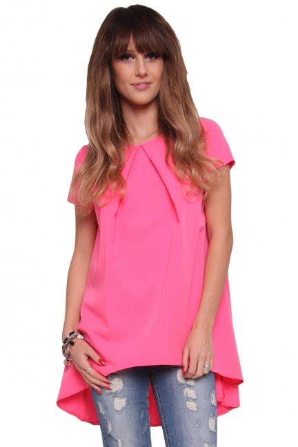 Tunika bluzka asymetryczna CM317 różowa