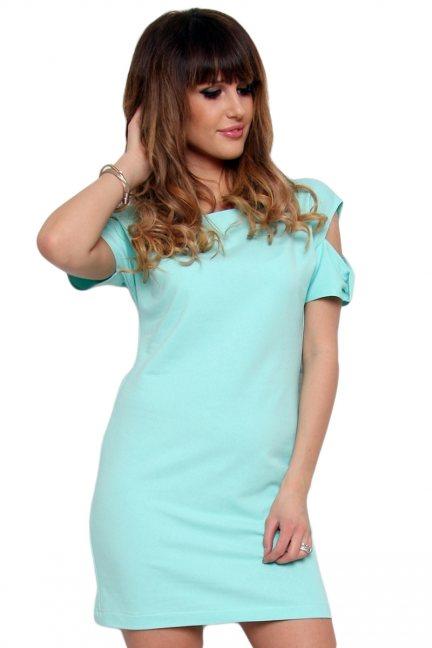 Sukienka mini z wycięciami miętowa