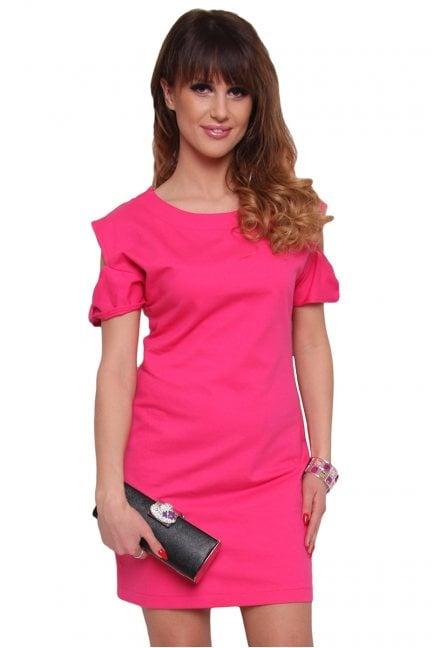 Sukienka mini z wycięciami CM434 różowa