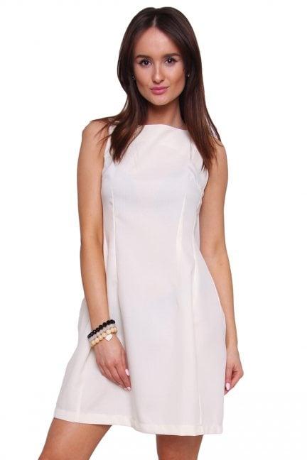 Sukienka rozkloszowana CM413 ecru