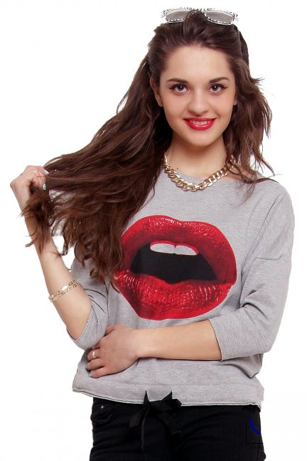 Bluzka wiązana druk usta CM277 szara