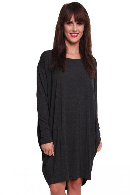Sukienka oversize bawełna CM191 grafitowa